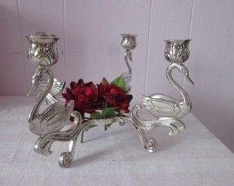 Vintage Chandelier 4 silver Swan / Vintage Chandelier 4 silver swans