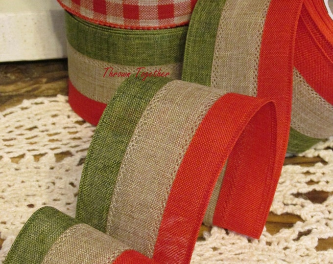 """Red, Green & Natural Wired Ribbon, Stripe Wired Ribbon, Primitive Rustic Ribbon, 5YDS Wired Ribbon, 2.5"""" wide Craft Ribbon, Christmas Stripe"""