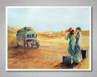 Desert Journey  Watercolor Painting by Faruk Koksal - Print on 290 gr. Textured Fine Art Paper