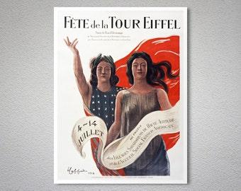 Fete de La Tour Eiffel Vintage Poster by Leonetto Cappiello - Poster Paper, Sticker or Canvas Print