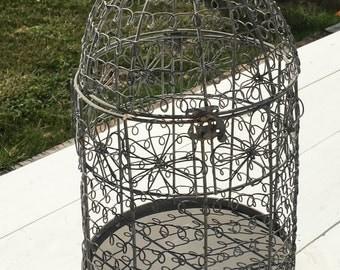 Vintage Ornate Decorative Metal Bird Cage, Footed, Planter