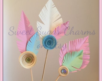 Boho cupcake toppers. Paper feather cupcake toppers. Assorted boho first birthday cupcake toppers.