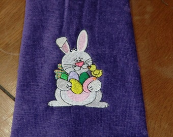 Purple Embroidered Finger Tip Towel  - Easter - Bunny W/Easter Eggs & Chick