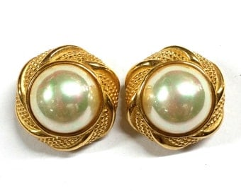 Vintage Christian Dior Gold with Mabe Pearl Chunky Round Clip Earrings