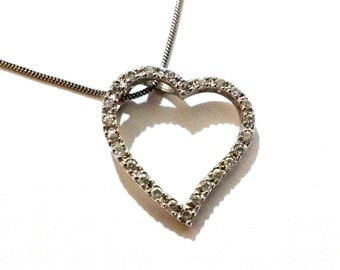 Vintage Sterling Silver CZ Open Heart Slide Pendant with Chain