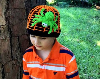 Crochet spider hat. Along Came a Spider Beanie