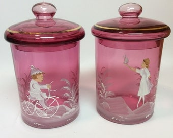 Antique Mary Gregory Cranberry Glass Vanity Jars with Stand