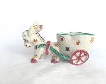 Vintage donkey planter - Italian hand painted donkey planter - kitsch ceramic donkey planter - vintage pottery donkey figurine