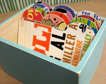 Super Turquoise Mini File Box Made with Vintage Record Album Covers-3x5