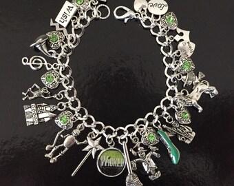 Wicked Charm Bracelet, Elphaba, Glinda, Wizard of Oz, Green Witch, Wicked, Witch, Musical