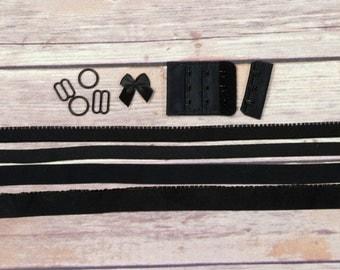 Bra Making Findings Kit in Black Wide Factory Dyed Bramaking Lingerie Sewing