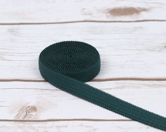"""3 Yards Forest Green 5/8"""" Decorative Plush Back Strap Elastic Bramaking Supplies Lingerie Sewing"""
