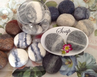 2 Felted, SOAP pebbles, Gift idea, Fragrant, Felt Soap, Felted Soaps,