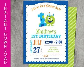 Monster Birthday Invitation, Self Editable, 5x7, INSTANT DOWNLOAD, 1st  Birthday, Boy Birthday, Diy Party Printable, Personalize, Editable