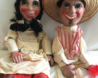 Mid Century String Marionette Dolls - Latin Couple - Great Vintage Condition - Composition