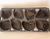John Wright Cast Iron Muffin Pan Shell Shapes John Wright Co USA 1989 Beach House Crab Roast Party Corn Muffin Pan