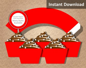 Solid Red Cupcake Wrapper Instant Download, Party Decorations