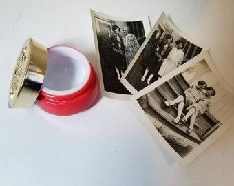 red milk glass cold cream cosmetics jar, vintage retro vanity decor, 1950s