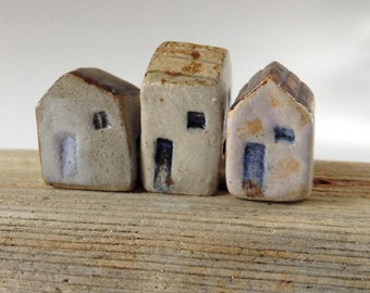 Cute Set of Three Rustic Cottages, Ceramic Houses, Miniature Stoneware Pottery Housewarming Gift