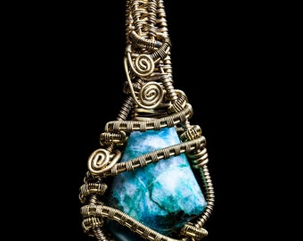 Chrysocolla pendant, brass with sterling silver wire wrapped pendant, pregnancy pendant, chrysocolla pregnancy stone