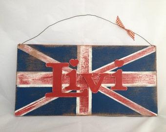 Custom wood sign / Wedding Sign / Wedding Sign Wood / Union Jack Wall Art / Personalised Wall Art / Bedroom Wall Art /