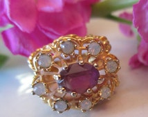 Vintage 18KT HGE Amethyst Color and Opal Droplets Gold Ring, SIZE 5, Cocktail Ring, Dinner Ring, February Birthstone Ring, Gift for Her