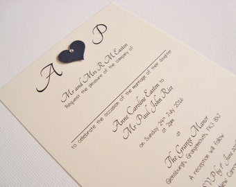 Personalised Handmade Diamanté/Pearl Heart Initials Wedding Invitation Sample