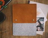 "15 Inch MacBook Pro Case, 15'' MacBook Pro Sleeve, Retina Display, ""Courier"", leather, wool felt"