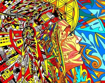 fire goddess,art,wall art, A4 Giclee print