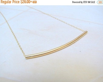 Sale - Gold curved tube necklace - gold tube necklace - delicate gold necklace