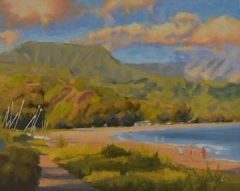 Kauai - Hawaii - Hanalei Bay - North Shore - Island - Beach - Seascape - Ocean - Mountains - Plein Air - Oil Painting - Sea - Coastline