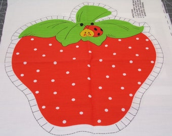 Fabric Pillow Panel Cut and Sew Strawberry Pillow