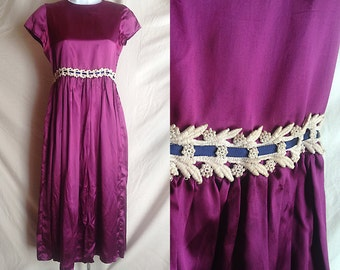 Vintage dress | Violet satin midi length party dress with lace detail and ribbon sash