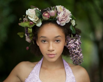 Silk Floral Crown Headpiece - Lilacs and Roses