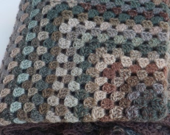 Crocheted Granny Square Blanket/Afghan in Greens and Browns