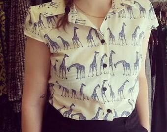 Button up shirt,  Women's blouse, White shirt with blue giraffe, Giraffe print shirt, African, Collar blouse, Unique blouse, Animal print