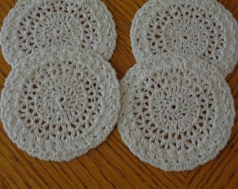 "Crochet Coaster Doilies (3.5"") / Set of 4 / Handmade Coasters / Coffee Tea Coasters / Wedding Favors / Unique Doily / Bridesmaid Gift"