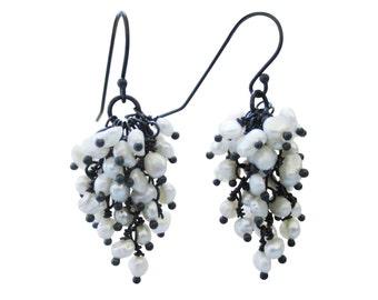 Pearl Earrings, Oxidized Sterling Silver Cascade Dangle Bridal Wedding