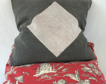 Set of 2 pillows, antique ash grey dyed linen with rare beige diamond inset.  50x50cm (20x20in)