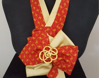 Red and yellow tie design