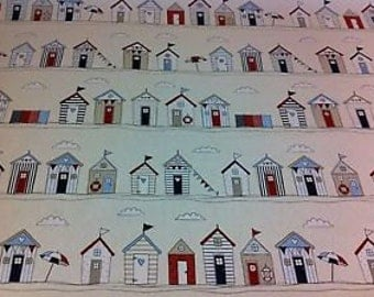 Beach Huts blue nautical seaside ocean fabric 100% Cotton Upholstery Curtain Fabric UK Design