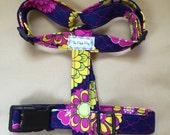 "Handmade Purple Floral Fabric 1"" Adjustable Dog Harness"
