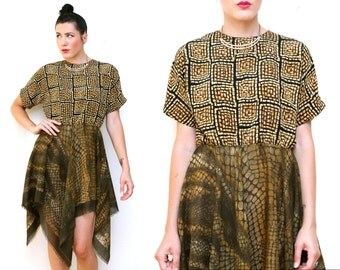 Vintage scarf dress // silky SNAKESKIN print recycled dress // medium large upcycled flounce skirt mismatched fabric handmade dress