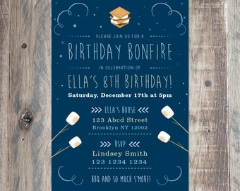 Custom Birthday Bonfire Invitation -  Personalized With Your Party Details - Night BBQ Invite - 5x7 - 4x6 - Printable PDF or Jpeg