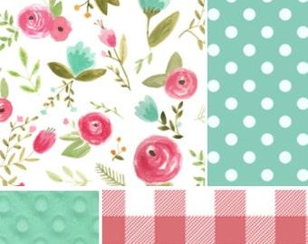 Floral Crib Bedding, Pink, Teal, Aqua, Roses, Polka dot, teething guard, crib rail guard, crib skirt girl,