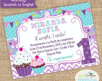 Cupcake Birthday, Chevron, polkadto, JPEG Printable File