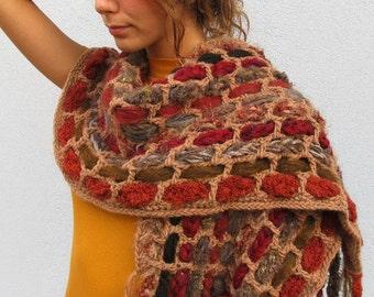 Hippie Boho Fringed Woman SCARF Cozy Crochet Winter Gift Idea FALL COLORS