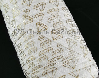 "Diamond FOE - White with Gold Foil Diamonds Fold Over Elastic - 5/8""  Prism Print Headbands Hair Ties - Shiny Satin Elastic"
