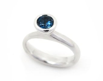 Sterling silver and London blue topaz ring, unique freeform ring - November and December birth stone