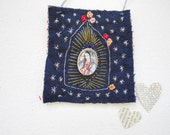 Embroidered altar, folk art, embroidered art, Virgin of Guadalupe, one of a kind